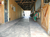 view down aisle of east barn